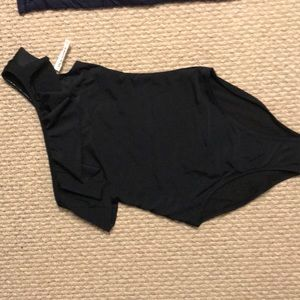 One shoulder black ruffle top one piece